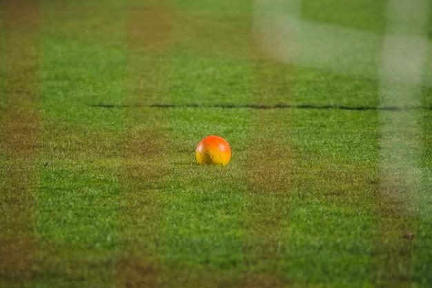 Cena de futebol com bola e rede