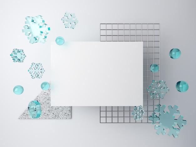 Cena de inverno 3d mínimo com flocos de neve caindo. espaço em branco para grade de texto e metal sobre fundo branco, pedaço de terraço.
