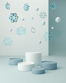 Cena de inverno com formas geométricas com pódio vazio. formas geométricas