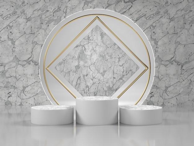 Cena de luxo no pódio de mármore branco para cosméticos ou outro produto.