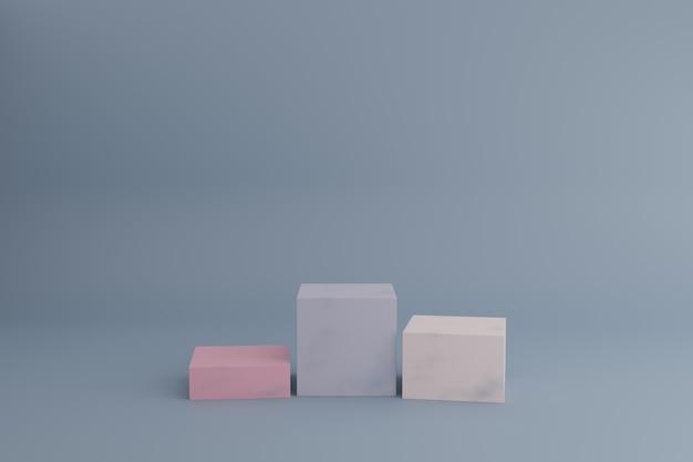 Cena de modelagem 3d com cubos ou caixas em tons pastéis calmos pódios vazios para produtos cosméticos