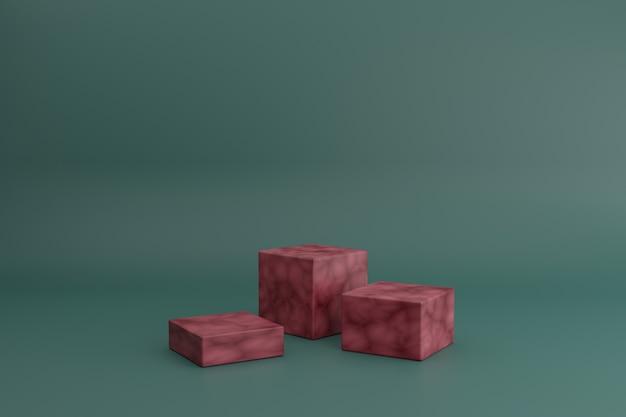 Cena de modelagem 3d com cubos vermelhos na sala verde