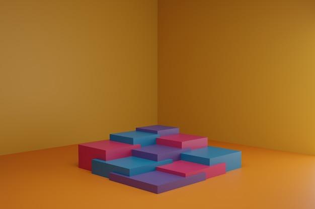 Cena de modelagem 3d com elementos geométricos simples em sala laranja