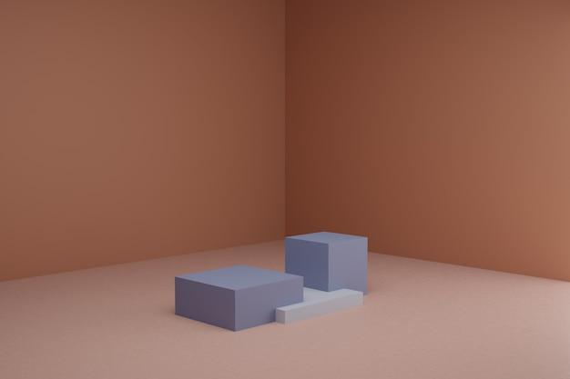Cena de modelagem 3d com elementos geométricos simples em sala marrom