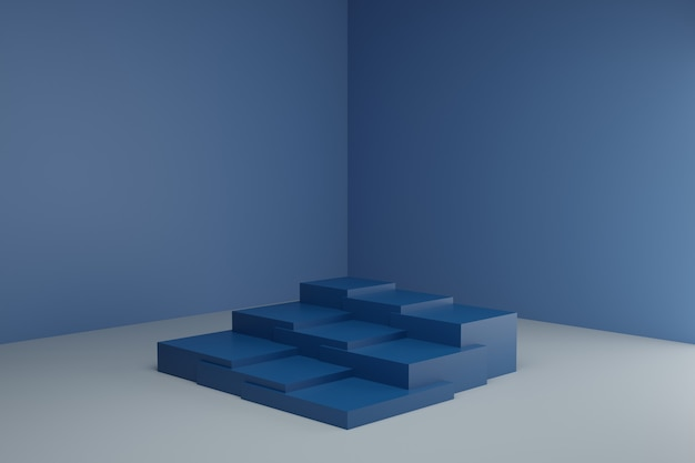 Cena de modelagem 3d com elementos geométricos simples em tons pastéis calmos e maquete em branco