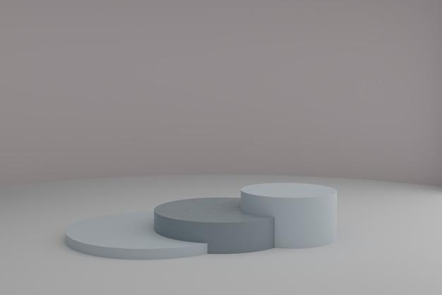 Cena de modelagem 3d com elementos geométricos simples em tons pastéis calmos, maquete de vitrine em branco redondo