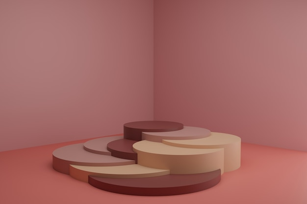 Cena de modelagem 3d com elementos geométricos simples no quarto rosa