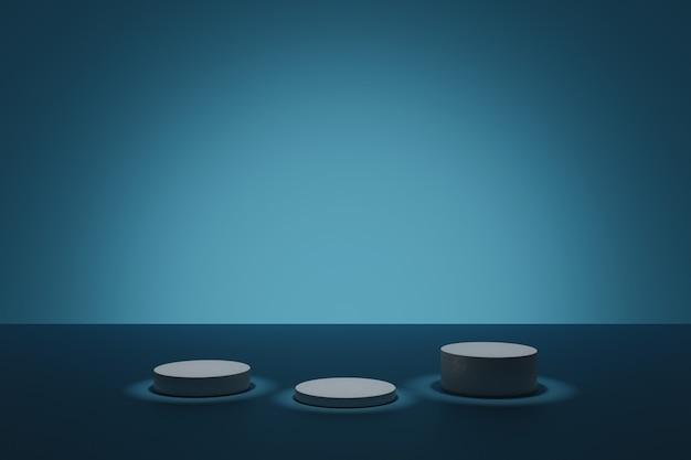 Cena de modelagem 3d com pódios cilíndricos iluminantes em uma sala azul