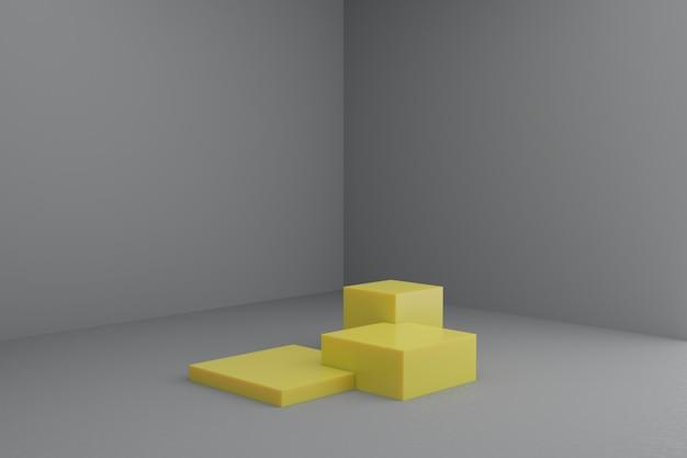 Cena de modelagem 3d com pódios quadrados em cores modernas de amarelo e cinza maquete de vitrine em branco