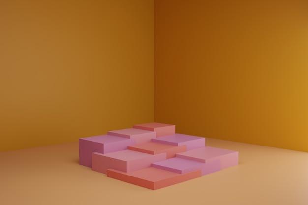 Cena de modelagem 3d com pódios quadrados em tons pastéis calmos