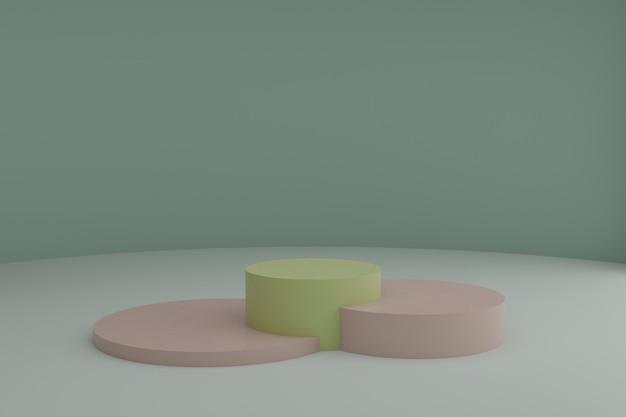 Cena de modelagem 3d com pódios redondos em tons pastéis calmos maquete de vitrine em branco