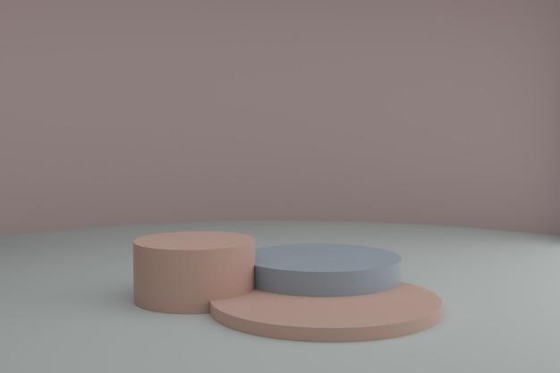 Cena de modelagem 3d com superfície cinza de elementos geométricos simples