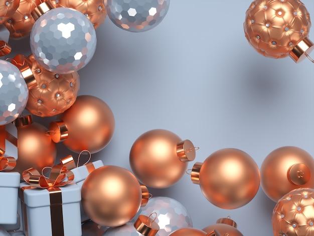 Cena de natal 3d com bolas decorativas e caixas de presente. feliz natal e feliz ano novo. copie o espaço. ilustração de renderização 3d.