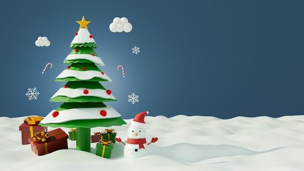 Cena de natal com caixa de presente e árvore de natal e boneco de neve na neve. renderização 3d