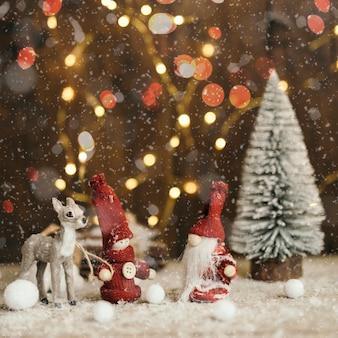 Cena de natal com luz de fundo