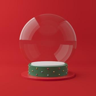 Cena de natal com pódio de forma geometria