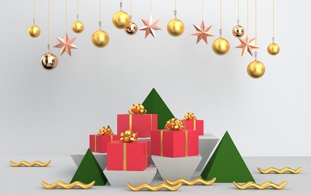 Cena de natal com presentes de árvore, bolas de vidro brilhantes e brinquedos