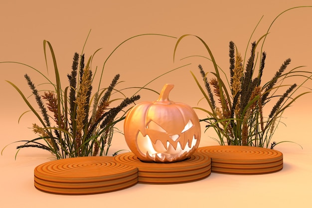 Cena de outono com plantas secas e pódio do cilindro de abóbora de halloween em fundo laranja