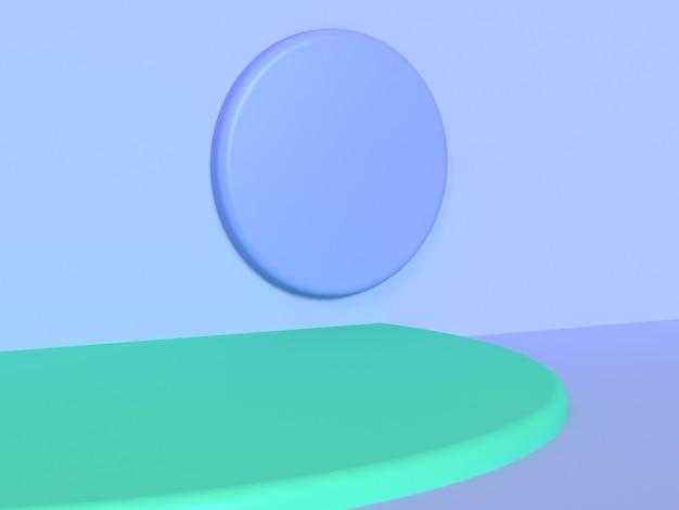 Cena de parede do círculo violeta-azul-roxo renderização 3d fundo de curva verde abstrato mínimo