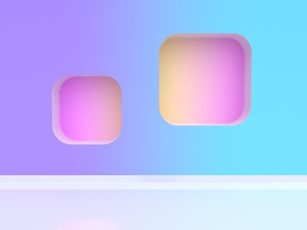 Cena de parede gradiente azul roxo-violeta renderização em 3d