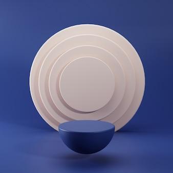 Cena de pedestal de renderização 3d para exposição do produto com fundo abstrato
