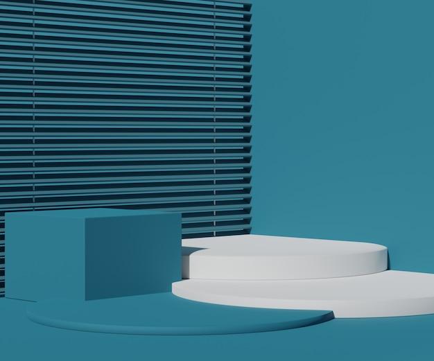 Cena de pódio vazio com formas geométricas para exposição de cosméticos e produtos.