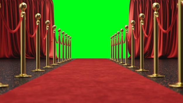 Cena de prêmio com cortinas vermelhas abertas em uma tela verde. tapete de veludo vermelho entre sebes douradas