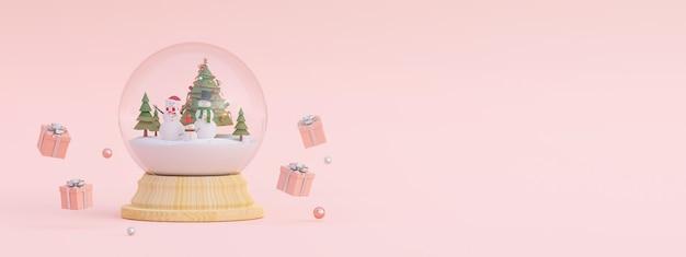 Cena de presentes de natal e boneco de neve com árvore de natal em uma renderização 3d de globo de neve
