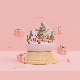 Cena de presentes de natal e urso, rena com árvore de natal em uma renderização 3d de globo de neve