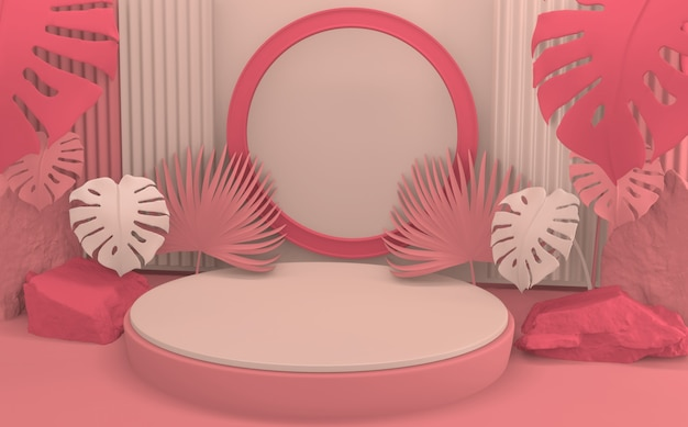 Cena de produto de design minimalista de tom rosa pódio. renderização 3d