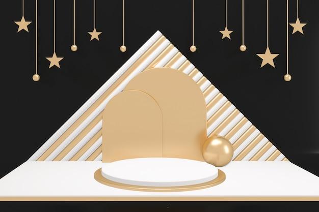 Cena de produto de design minimalista do pódio adstract gold and white sobre fundo dourado e preto. renderização 3d