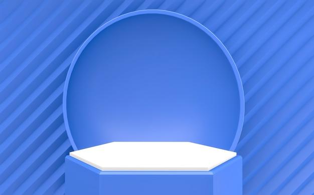 Cena de produto de design mínimo de pódio azul ciano colorido. renderização 3d
