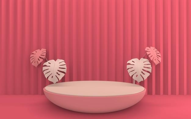 Cena de produto de design mínimo do pódio rosa vermelho dos namorados. renderização 3d
