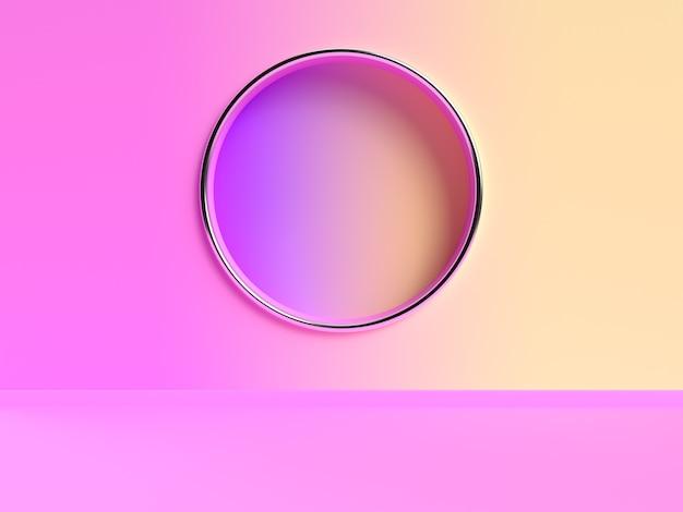 Cena de renderização 3d abstrata de gradiente de parede rosa amarela