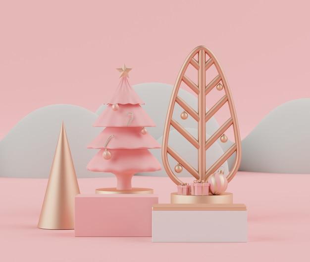 Cena de renderização em 3d do feriado de natal com pódio ou pedestal de displays para mock up