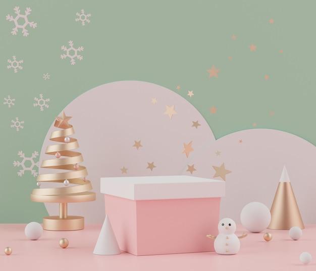 Cena de renderização em 3d do feriado de natal com pódio ou pedestal de displays para mock up Foto Premium