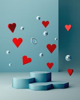 Cena de são valentim com formas geométricas com pódio vazio. formas geométricas