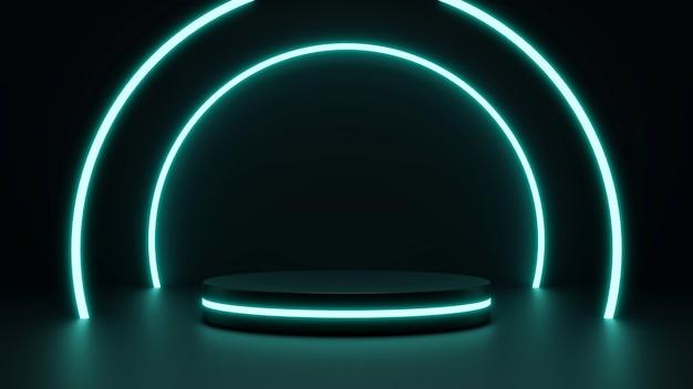 Cena de simulação futurista com pódio abstrato azul néon futurista scifi design 3d render