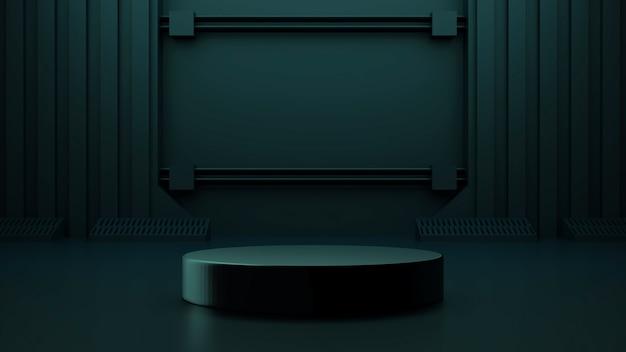 Cena de simulação futurista com vitrine de design scifi futurista escuro abstrato renderização em 3d