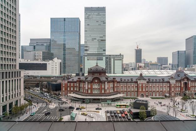 Cena, de, tóquio, estação de comboios, de, terraço, em, tarde, tempo