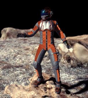 Cena do astronauta em marte - ilustração 3d