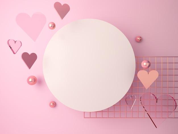 Cena do dia dos namorados, corações românticos caindo. cena abstrata ouro rosa e formas de vidro com espaço em branco