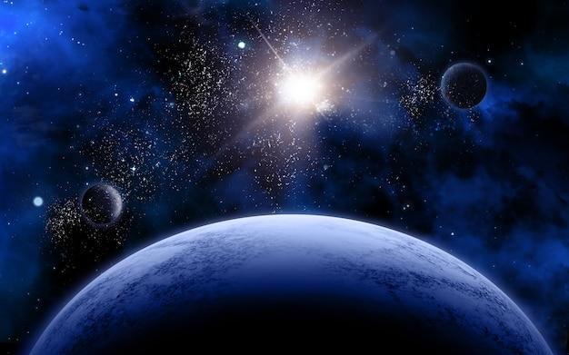 Cena do espaço 3d com planetas fictícios e estrelas