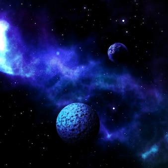 Cena do espaço 3d com planetas fictícios