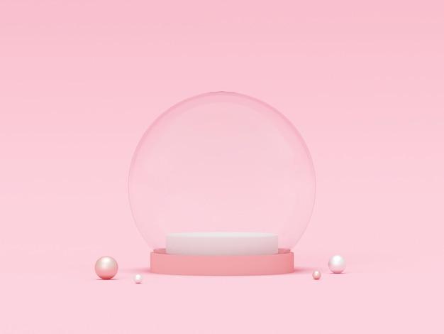 Cena do globo de cristal vazio de cor pastel, renderização em 3d