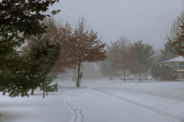 Cena do inverno de uma tempestade da neve neste bairro central de new-jersey.