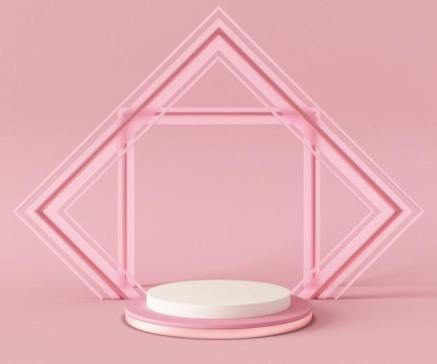 Cena do modelo do fundo do pódio da rendição 3d. geometria abstrata forma cor pastel.