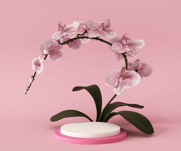 Cena do modelo do fundo do pódio da rendição 3d, plantas da flor. geometria abstrata forma cor pastel. forma geométrica mínima. fundo cosmético para apresentação do produto.