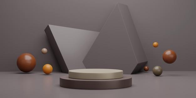 Cena do pódio 3d geométrica para exposição do produto.