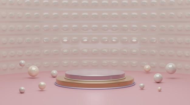 Cena do pódio 3d geométrica rosa para exposição do produto.